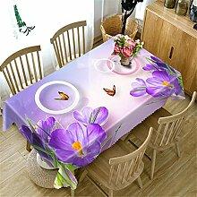 Polyester 3D Tischdecke Lila Violet Blumen Muster