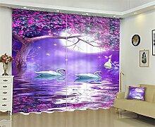 Polyester 3D Vorhänge Lila blumen Digitaldruck drapieren Blackout Wohnzimmer Schlafzimmer Fenster Vorhänge , wide 2.64x high 2.41