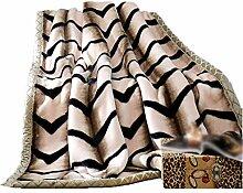 Polyester Braun schwarz Streifen Einzel oder Doppel Einfache und moderne Heimtextilien Wolldecke 180 * 220cm