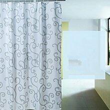 Polyester-Duschvorhang Verdickung Wasserdichte Anti-Mehltau-Trennwand Badezimmer-hängenden Vorhang ( Farbe : Blau , größe : 240*200cm )