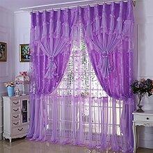 Polyester Faser Spleißen Druck Spitze Micro-elastische 70% Schattierung Fenster Stereo Fenstervorhang Vorhänge Valance W6 × H2.8m , lila , hook