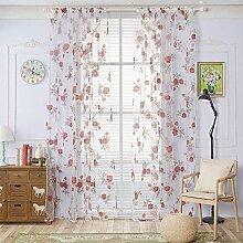 Polyester Garn Druck Halbschattierung Wohnzimmer Schlafzimmer Das fertige Produkt Transparente Fenster Vorhänge 1 Panel , red , 100*270cm