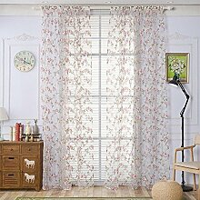 Polyester Garn Druck Halbschattierung Wohnzimmer Schlafzimmer Das fertige Produkt Transparente Fenster Vorhänge 1 Panel , red , 100*200cm