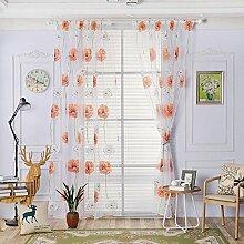 Polyester Garn Druck Halbschattierung Wohnzimmer Schlafzimmer Das fertige Produkt Transparente Fenster Vorhänge 1 Panel , orange yellow , 100*270cm