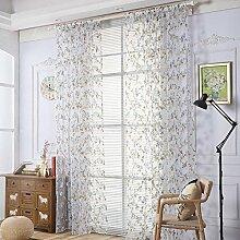 Polyester Garn Druck Halbschattierung Wohnzimmer Schlafzimmer Das fertige Produkt Transparente Fenster Vorhänge 1 Panel , blue , 100*200cm