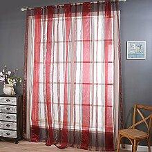 Polyester Garn geschnittene Blume Halbschattierung Wohnzimmer Schlafzimmer Das fertige Produkt Wear bar Fenster Vorhänge 1 Panel , red , 130*214cm