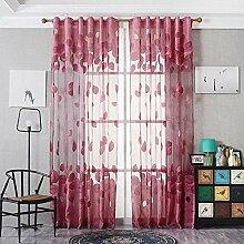 Polyester Garn Jacquard Halbschattierung Wohnzimmer Schlafzimmer Das fertige Produkt Fenster Vorhänge 1 Panel , red , 140*240cm