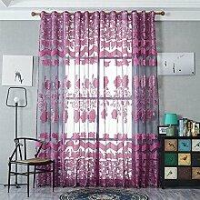 Polyester Garn Jacquard Halbschattierung Wohnzimmer Schlafzimmer Das fertige Produkt Transparente Fenster Vorhänge 1 Panel , purple , 140*240cm