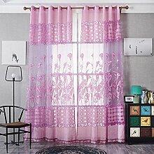 Polyester Garn Jacquard Halbschattierung Wohnzimmer Schlafzimmer Das fertige Produkt Transparente Fenster Vorhänge 1 Panel , pink , 140*240cm