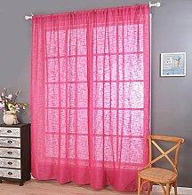 Polyester-Garn Leinen Solid Color Halbschattierung Wohnzimmer Schlafzimmer Das fertige Produkt Wear bar Fenstervorhänge 1 Panel , rose , 150*250cm
