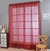 Polyester-Garn Leinen Solid Color Halbschattierung Wohnzimmer Schlafzimmer Das fertige Produkt Wear bar Fenstervorhänge 1 Panel , red , 200*270cm