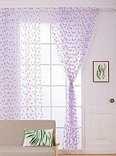 Polyester Garn Schmetterling Druck Halbschattierung Wohnzimmer Schlafzimmer Das fertige Produkt Tragen Bar Fenster Vorhänge 1 Panel , purple , 100cm*270cm