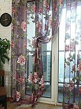 Polyester Garn Schnitt Blume Halbschattierung Wohnzimmer Schlafzimmer Das fertige Produkt Fenster Vorhänge 1 Panel , purple , 100*200cm