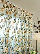 Polyester Garn Schnitt Blume Halbschattierung Wohnzimmer Schlafzimmer Das fertige Produkt Fenster Vorhänge 1 Panel , yellow , 100*200cm