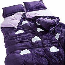 Polyester Gereinigte Baumwolle lila Einfache Heimtextilien Vierteilige Blatt Bettwäsche Tasche Kissenbezug