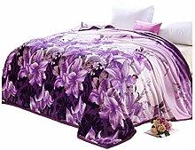 Polyester lila Blumenmuster verdicken Einzel oder Doppel Einfache und moderne Heimtextilien Wolldecke 200 * 230cm