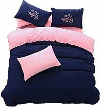 Polyester Rosa und Blau Einfache Heimtextilien Vierteilige Blatt Bettwäsche Tasche Kissenbezug