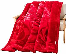 Polyester rot Blumenmuster Einzel oder Doppel 3,5 kg Einfache und moderne Heimtextilien Wolldecke 195 * 230cm