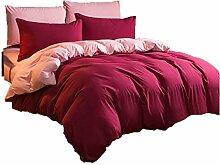 Polyester rot Einfache Heimtextilien Vierteilige Blatt Bettwäsche Tasche Kissenbezug