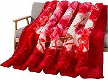 Polyester rot Gelb Blumenmuster Einzel oder Doppel Einfache und moderne Heimtextilien Wolldecke 180 * 220cm