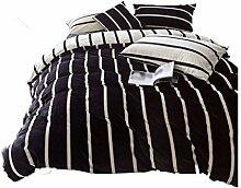 Polyester Schwarzweiss-Streifen Einfache Heimtextilien Vierteilige Blatt Bettwäsche Tasche Kissenbezug