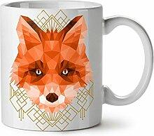polygonal Feuer Fuchs Tier Gestalten WeißTee KaffeKeramik Becher 11   Wellcoda
