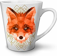 polygonal Feuer Fuchs Tier Gestalten WeißTee KaffeKeramik Kaffeebecher 12   Wellcoda