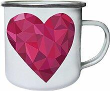 Polygonale Liebe Herz Dreieck Origami Retro, Zinn, Emaille 10oz/280ml Becher Tasse g337e