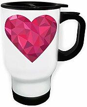 Polygonale Liebe Herz Dreieck Origami Weiß