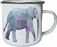 Polygonales Elefanten-Dreieck Origami Retro, Zinn, Emaille 10oz/280ml Becher Tasse g345e