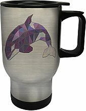 Polygonales orca dreieck origami Edelstahl Thermischer Reisebecher 14oz 400ml Becher Tasse g343ts