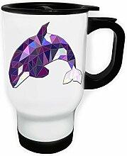 Polygonales orca dreieck origami Weiß Thermischer Reisebecher 14oz 400ml Becher Tasse g343tw
