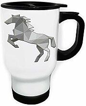 Polygonales Pferd Dreieck Origami Weiß Thermischer Reisebecher 14oz 400ml Becher Tasse g341tw