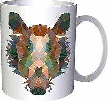 Polygonales Wildschwein-Dreieck Origami 33 cl Tasse g338