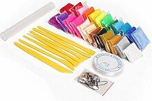 Polymer einfügen in 24Farben + Modellier Werkzeuge + Zubehör + Kristall Gewinde + Roller