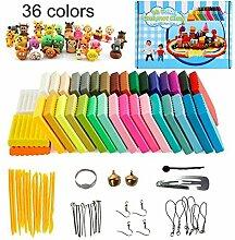 Polymer Ton 36 Farben Clay, Ofen backen DIY Lehm Moulding Craft, Safe und ungiftig Kinderknete und Werkzeuge, Bestes Geschenk für Kinder