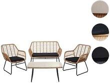 Polyrattan Garnitur HWC-G17a, Gartengarnitur Sofa