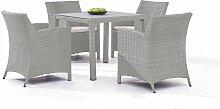 Polyrattan Gartenmöbel Dining Set in Grau