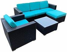 Polyrattan Lounge Sitzgruppe Schwarz / Türkis &