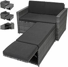 Polyrattan Lounge Sofa 2er Sitzer Gartensofa mit