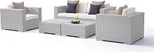 Polyrattan Loungemöbel Set in Grau satiniert -