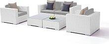 Polyrattan Loungemöbel Set in Weiß satiniert -