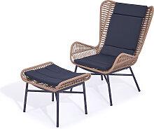 Polyrattan Sessel Mistral und Hocker - karamell ab