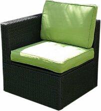 Polyrattan Sesselelement mit Armlehne + Polster grün