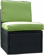 Polyrattan Sesselelement mit grünen Polstern