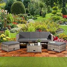 Polyrattan Sitzmöbel Set Sofa Tisch 2 Hocker grau