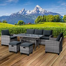 Polyrattan Sofa Essgruppe DELIGHT grau/anthrazit