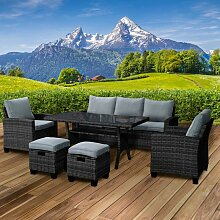 Polyrattan Sofa Essgruppe DELIGHT schwarz/grau