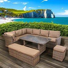 Polyrattan Sofa Essgruppe HOLIDAYS braun/beige