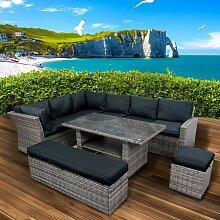 Polyrattan Sofa Essgruppe HOLIDAYS grau/anthrazit